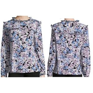 NWT Karl Lagerfeld Floral Ruffle Blouse Small